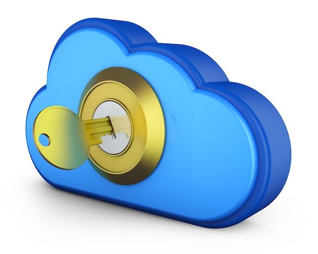 Uma nuvem azul com uma chave na fechadura Foto Premium