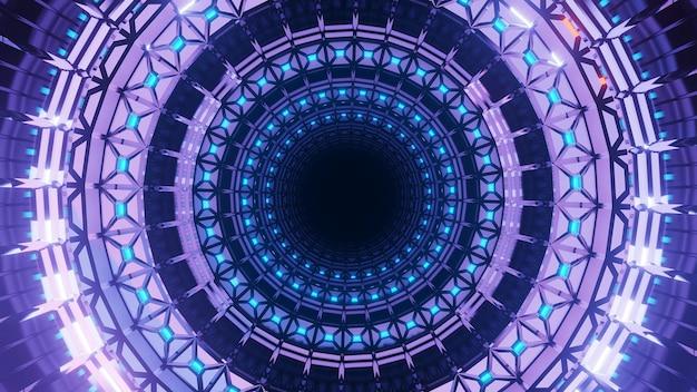 Uma renderização em 3d de um fundo futurista com formas circulares e luzes neon roxas Foto gratuita