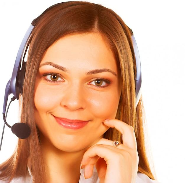 Uma secretária / telefonista amigável isolado Foto Premium