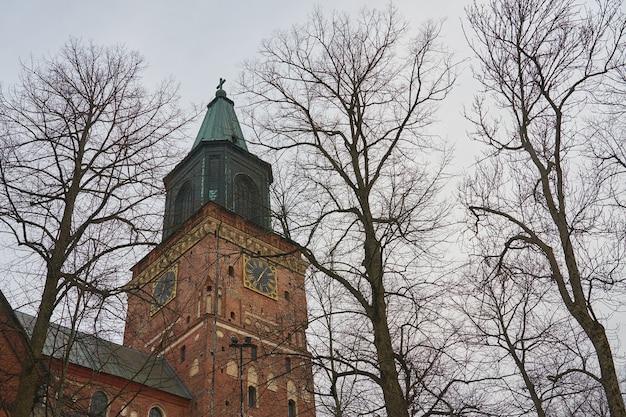 Uma torre do relógio da catedral de turku atrás das árvores no inverno. Foto Premium