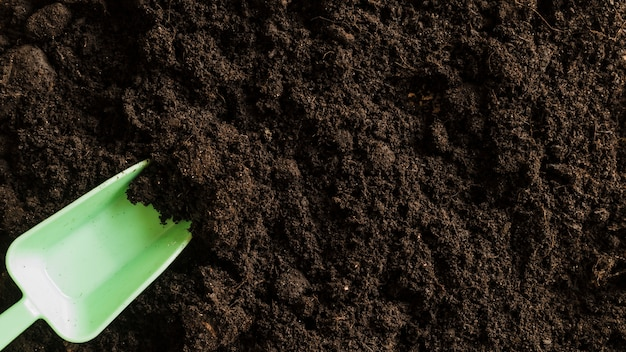 Uma visão elevada de uma colher de plástico no solo fértil Foto gratuita