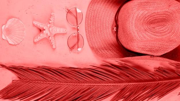 Uma visão elevada de vieira; estrelas do mar; oculos escuros; chapéu e palma deixa no fundo coral Foto gratuita