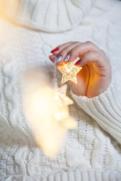 Unhas artísticas de natal Foto Premium
