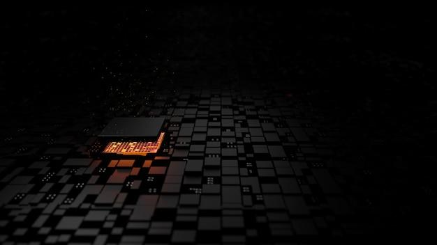 Unidade central do processador do chipset microprocessador no circuito de iluminação Foto Premium