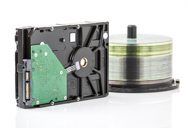 Unidade de disco rígido e discos de dvd Foto Premium