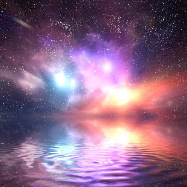 Universo colorido refletida na água Foto gratuita