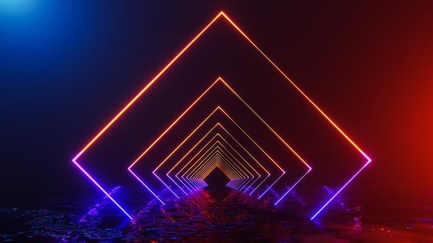 Universo de fantasia e corredor do espaço, render 3d Foto Premium