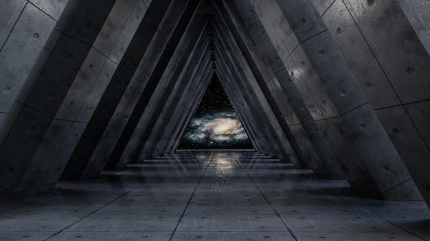 Universo de fantasia e fundo do corredor do espaço, render 3d Foto Premium