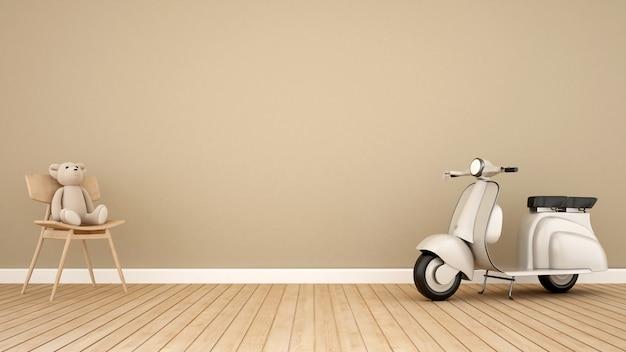 Urso, cadeira balanço, e, vindima, motocicleta, em, criança, room-3d, fazendo Foto Premium