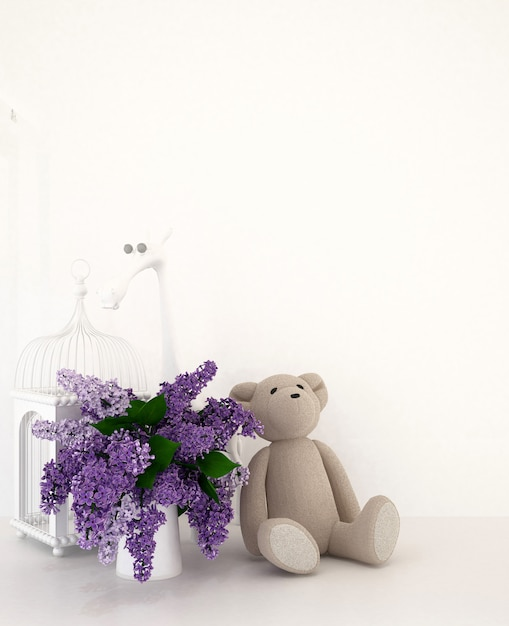Urso de pelúcia com vaso de roxo e gaiola na sala do garoto para obras de arte - renderização em 3d Foto Premium
