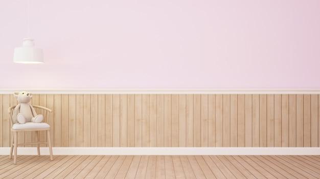 Urso de pelúcia na cadeira na sala-3d rosa rendering.jpg Foto Premium