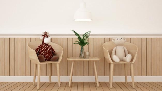 Urso e girafa boneca na sala de jantar ou quarto de criança - renderização 3d Foto Premium