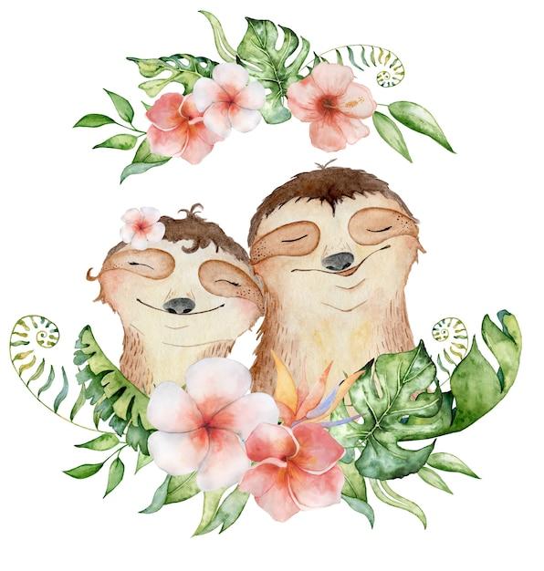 Ursos-preguiça em aquarela. casal apaixonado Foto Premium