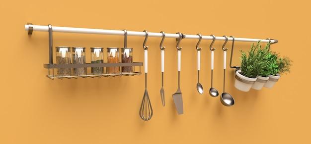 Utensílios de cozinha, granéis secos e temperos vivos em vasos pendurados na parede Foto Premium