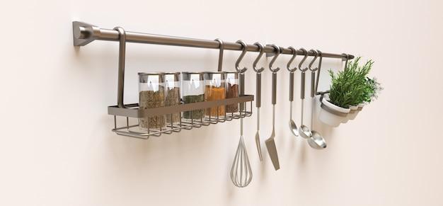 Utensílios de cozinha, massa seca e temperos vivos em vasos estão pendurados na parede. renderização em 3d. Foto Premium