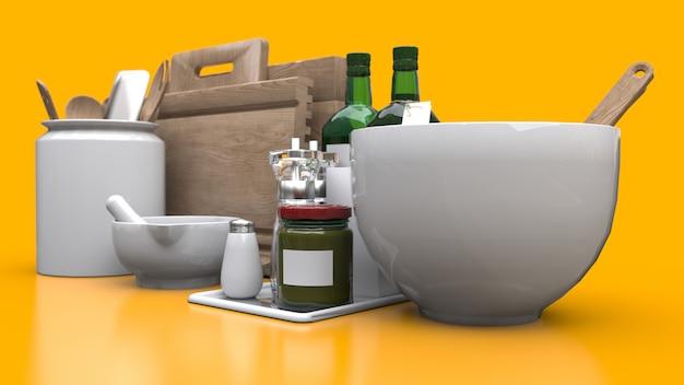Utensílios de cozinha, óleo e vegetais enlatados em uma jarra em um fundo amarelo. renderização em 3d. Foto Premium