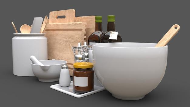 Utensílios de cozinha, óleo e vegetais enlatados em uma jarra em um fundo cinza Foto Premium