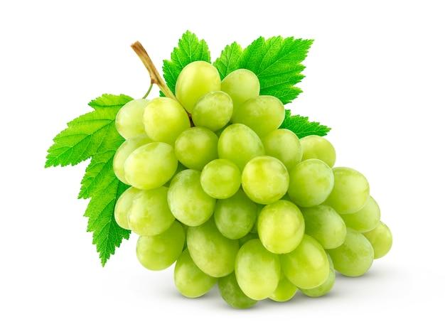 Uva verde isolada no branco Foto Premium