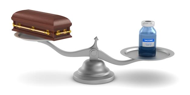 Vacina de covid-19 e caixão em escala. ilustração 3d isolada em fundo branco Foto Premium