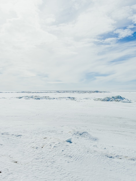 Vale coberto de neve em um dia frio de inverno sob o céu nublado Foto gratuita