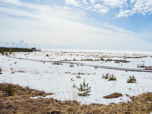 Vale coberto de neve sob o céu brilhante no inverno Foto gratuita