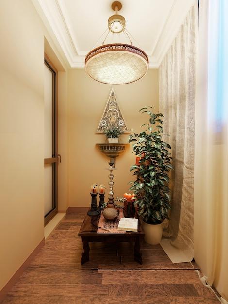 Varanda fechada com mesa baixa com narguilé e vaso de flores Foto Premium