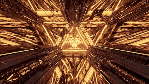 Várias luzes formando padrões triangulares e fluindo para frente atrás de um fundo escuro Foto gratuita