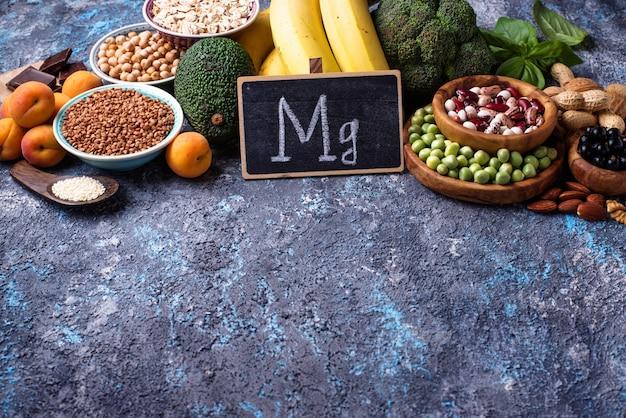 Variedade de alimentos que contenham magnésio Foto Premium