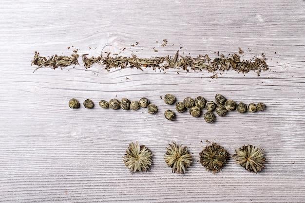 Variedade de chá verde Foto Premium