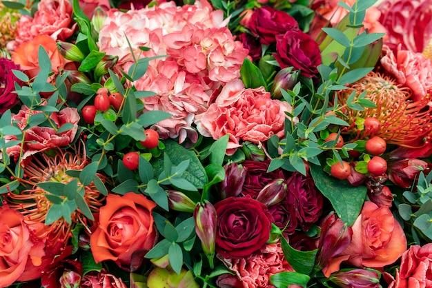 Variedade de close-up de flores coloridas Foto Premium