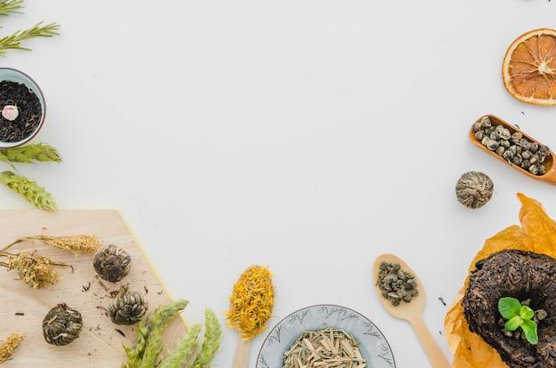 Variedade de ervas isolado no fundo branco Foto gratuita