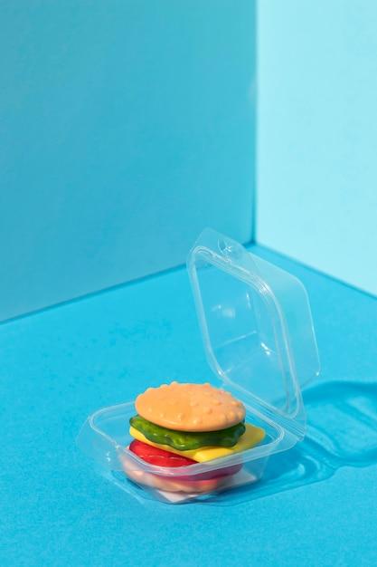 Variedade de hambúrguer doce em grande angular Foto gratuita