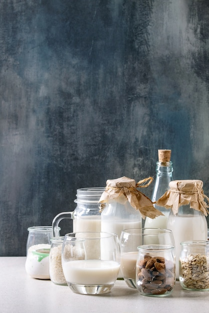 Variedade de leite não lácteo Foto Premium
