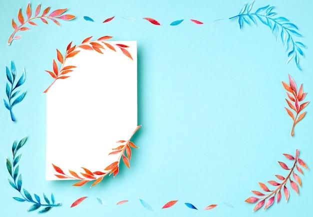 Variedade de vista superior de folhas tropicais com espaço de cópia Foto Premium