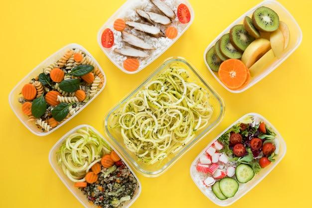 Variedade plana leigos nutrir alimentos Foto gratuita