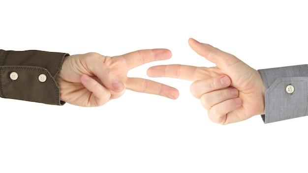 Vários gestos de mãos masculinas entre si em um branco Foto Premium