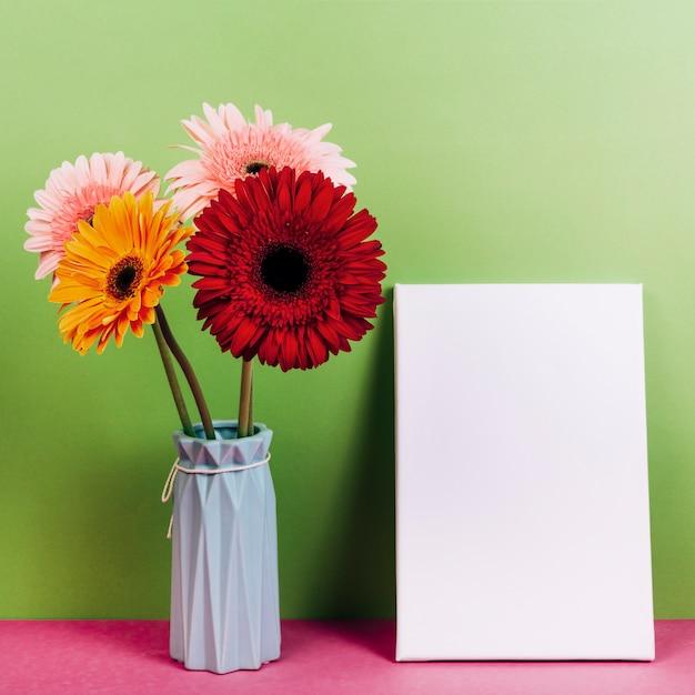 Vaso de flor colorida gerbera perto do cartão em branco contra fundo verde Foto gratuita