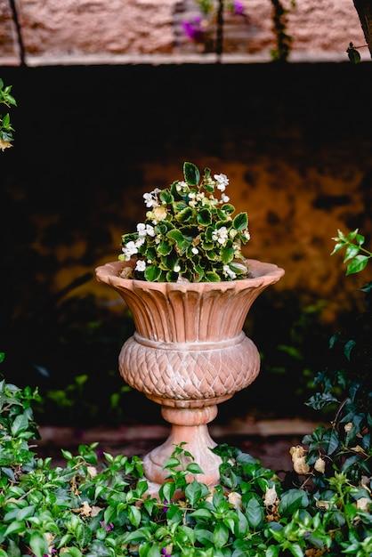 Vaso de pedra cinzelado antigo em um jardim europeu com flores. Foto Premium
