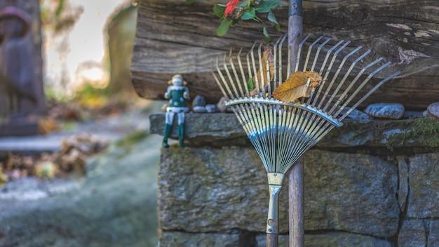 Vassouras do ancinho de jardim com folha secada Foto Premium