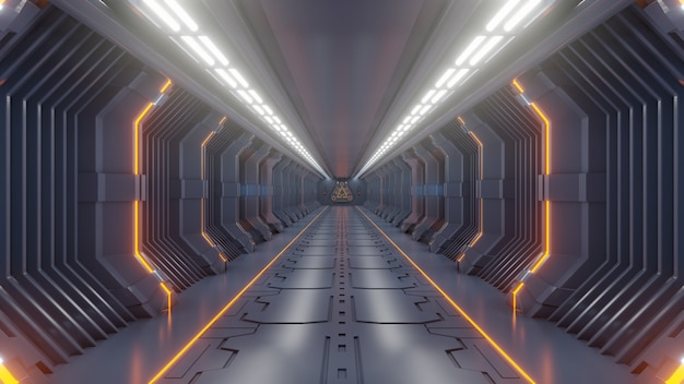 Vazio escuro futurista sci fi quarto, nave espacial corredores luz laranja Foto Premium
