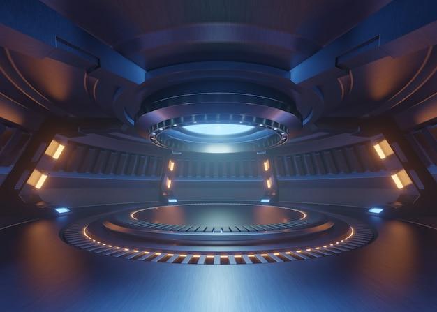 Vazio luz azul sala de estúdio futuro interior com luz palco com luzes azul Foto Premium