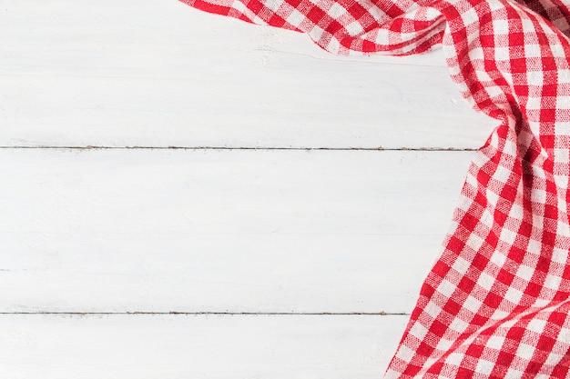 Vazio, madeira, tabela, pano, vermelho, guardanapo Foto gratuita