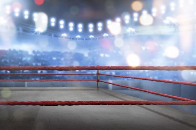 Vazio ringue de boxe com cordas vermelhas para o jogo Foto Premium