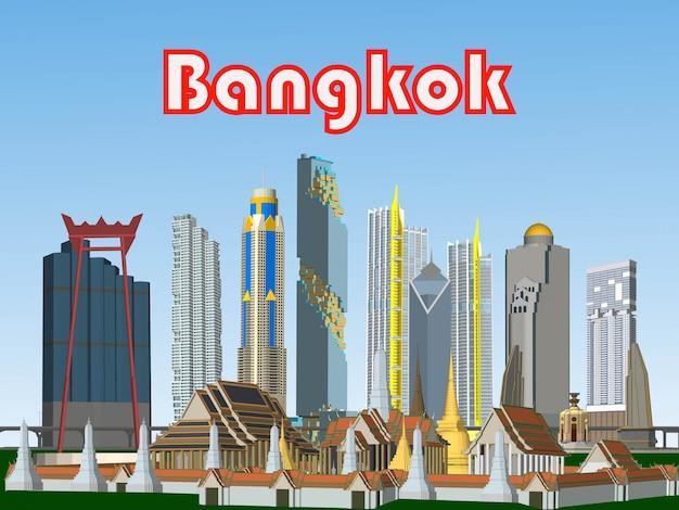 Vector bangkok, tailândia edifícios nas grandes cidades Foto Premium