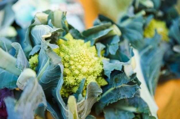 Vegetal brassica romanesco orgânico fresco à venda no mercado Foto gratuita