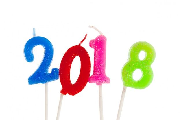 Vela de aniversário de número de aniversário: ano de 2018 Foto Premium