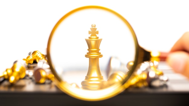 Vencedor do conceito de negócio, jogo de tabuleiro de xadrez Foto Premium