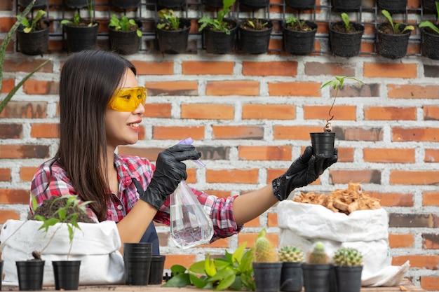 Venda de plantas online; mulher sorrindo enquanto planta planta Foto gratuita