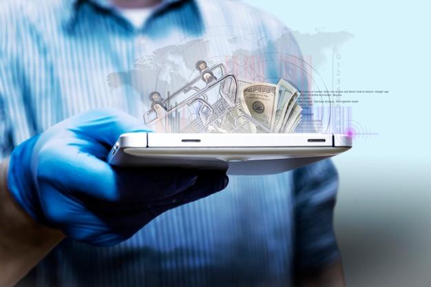 Vendas online. análise de crescimento de negócios. empresário usando um tablet analisa as vendas online e o crescimento econômico. estratégia de negócios, finanças e bancos. marketing digital. Foto Premium