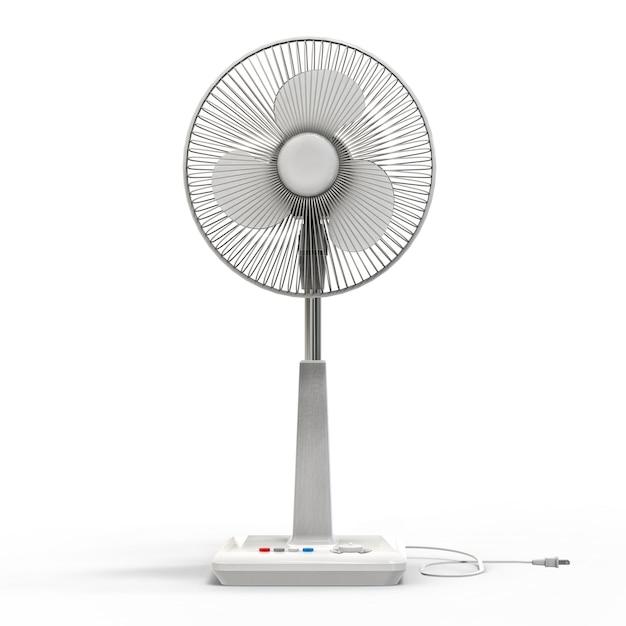 Ventilador elétrico branco. modelo tridimensional em um fundo branco Foto Premium
